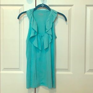 Lily Pulitzer light turquoise ruffle cotton tank